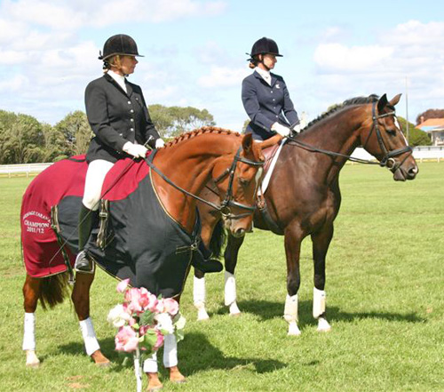 Taranaki Dressage Tournament Level 1 Champion Roseanne Rix on Lindisfarne Laureate, with Reserve champions Susan Tomlin and Dancealong.  The tournament was held on January 15, 2012.