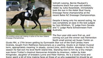 Young dressage horses impress top judges at NZ champs