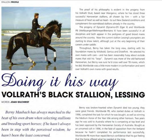 Doing it his way: Vollrath's Black Stallion, Lessing