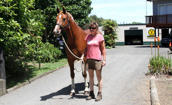 Liaison about to get on the truck to go to her new home in Auckland.